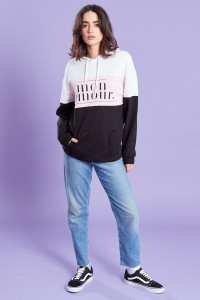 Black Drop Shoulder Oversized Colour Block Slogan Hoody