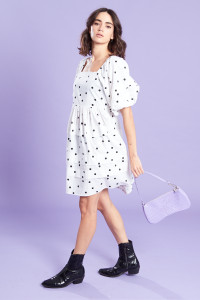 White Square Neck Mini Dress With Pleat Detail