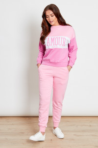 Pink Colourblock SweatShirt