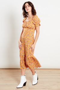Orange Ditsy Print Midi Dress