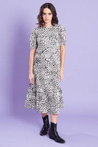 Animal Print Cotton Midi Dress