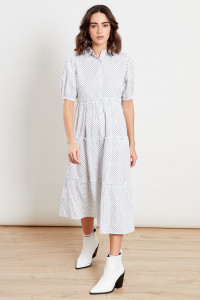 White With Black Dot Print Midi Shirt Dress