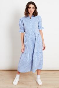 Blue & White Stripe Midi Shirt Dress