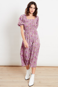 Purple Floral Midi Dress