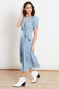 Blue Ditsy Wrap Midi Dress
