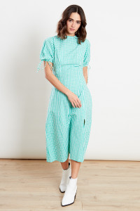 Green Gingham Fit And Flare Puff Sleeve Midi Dress