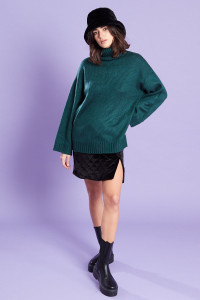 Relaxed Fit Roll Neck Jumper Forrest green