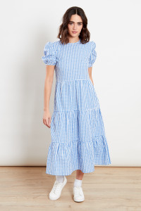 Gingham Blue Midi Dress