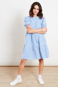 Gingham Blue Tier Mini Dress