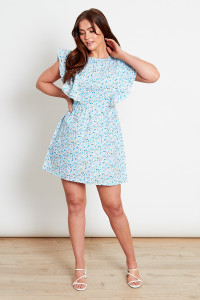 Blue Ditsy Cotton Mini Dress