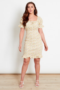 Yellow Ditsy Cotton Ruched Mini Dress