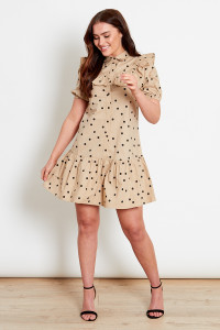 Tan With Black Polka Dot Mini Shirt Dress