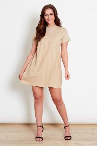 Beige Jersey Mini Dress