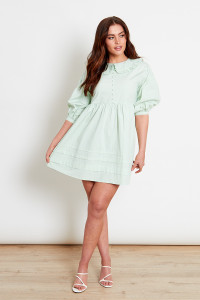 Cotton Sage Green Collar Mini Dress