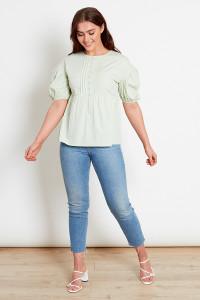 Sage Green Cotton Collar Top