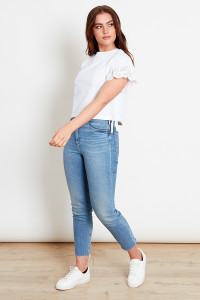 White Anglais Sleeves Jersey Top