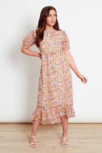 Multi Ditsy Print Midi Dress