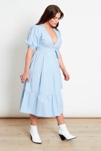 Blue Spot Cotton Wrap Midi Dress