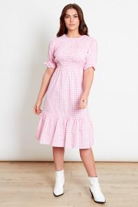 Pink Gingham Midi Dress