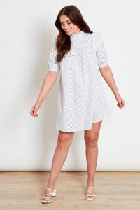White With Black Dot Cotton Mini Dress