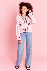 Cropped Cardigan with Crystal Buttons - Pink
