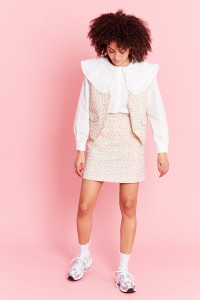 Ditsy Floral Quilted Mini Skirt - Cream