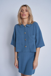 Cropped Boxy Blouse With Soft Stand Collar And Button Down Fastening