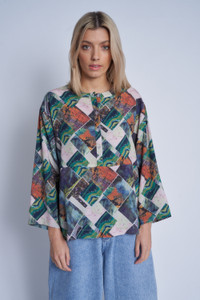 Viscose Igne Print Blouse In Relaxed Fit With Button Through Detail