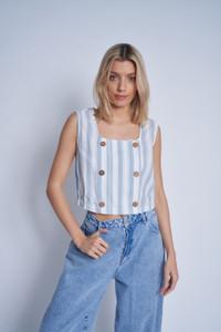 Linen Mix Striped Button Down Blouse