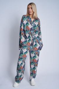 Viscose Igne Printed  Oversized Jumpsuit With Drawcord Waist And Kimono Sleeve