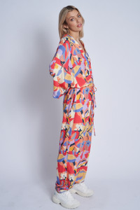 Mimosa Print Loose Fit Jumpsuit With Stand Collar And Gathered Waist