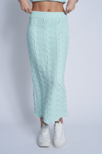 Luxe Knitted Casual Skirt With Elasticated Waistband In Cable Stitch