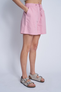Cotton Short With Elasticated Waist And Self Tie Belt
