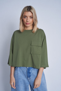 Olive Cropped T-Shirt With Patch Pocket And Contrast Stitch Colour