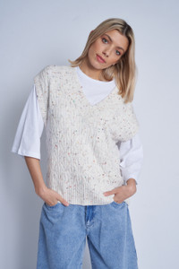 Oversized Cable Knit Sweater Vest With Multi Colour Stitches