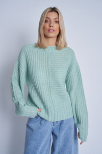 Chunky Knitted Jumper With Contrasting Stitches At Front And V Neck Back