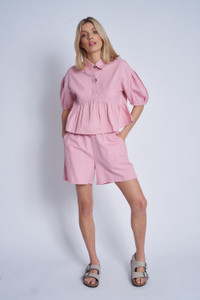 Cotton Cropped Peplum Blouse With Puff Sleeves