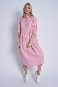 Cotton Oversized Tiered Midaxi Dress With Half Concealed Button Placket And Puff Sleeve