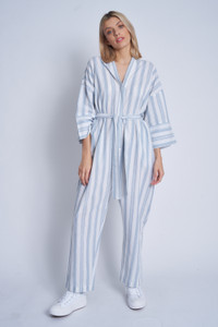 Linen Mix Striped Kimono Sleeve Jumpsuit