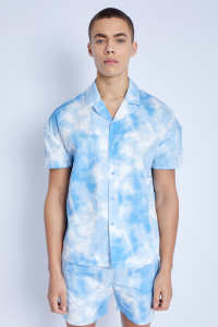 S/S Shirt In Watercolour Print With Drop Shoulder