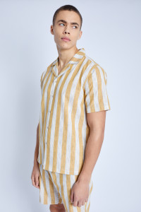 S/S Striped Shirt With Revere Collar