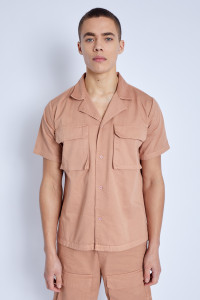 Brown S/S Shirt In Washed Cotton With 3-D Pockets