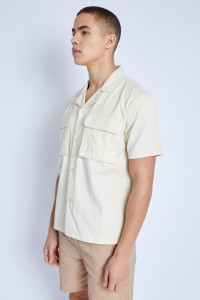 Stone S/S Shirt In Washed Cotton With 3-D Pockets