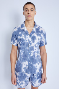 S/S Shirt In Tie Dye Print With Angled Pockets