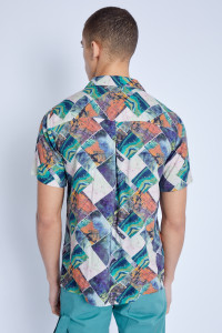 S/S Shirt In Igne Print With Revere Collar