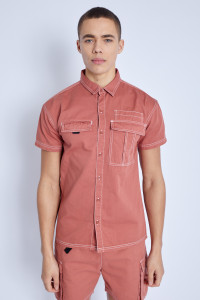 S/S Shirt In Washed Cotton With Drop Shoulder