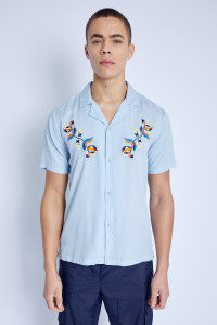 S/S Shirt With Mimosa Print Embroidery