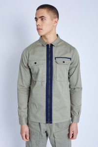 L/S Overshirt In Washed Cotton With Zip Fastening And Cargo Pockets
