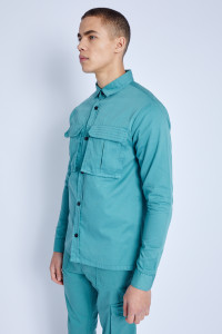 Teal L/S Overshirt In Washed Cotton With Utility Pockets