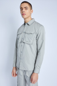 L/S Overshirt With Cargo Pockets In Peached Nylon